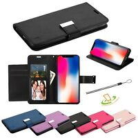 For Apple iPhone XR Leather Wallet Flip Dual Cards Holder Phone Case Cover Pouch
