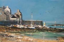 Bretagne. Le port du Conquet. Peinture signée ROY