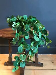 Potted Artificial Trailing Round Ivy Plant. Realistic Green Faux Silk Houseplant
