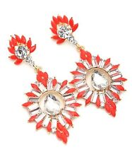 Holiday/Wedding Fashion Large Red & Crystal Drop Dangle Chandelier Earrings