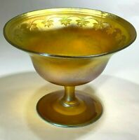 Scarce Tiffany Favrile Glass Stemmed Bowl With Iridescent Finish Etched Leafs