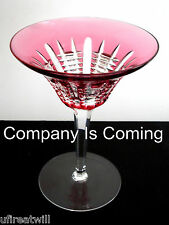 1 Waterford simply PINK CRANBERRY cased cut to clear crystal martini cocktail
