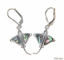 925 Sterling Silver Hawaiian Stingray Fish Abalone Shell Paua Leverback Earrings