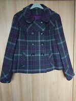 F&F Womens Grey/Purple Checked Wool Blend Tweed Jacket Coat Size 16