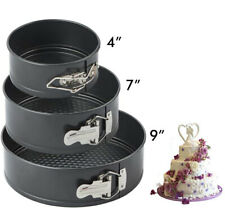 """4"""" 7"""" 9"""" Non-stick Springform Cake Pan Set Leakproof Round w/Quick Release Clips"""