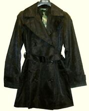 New Ralph Lauren Womens Black Trench Rain Coat Raincoat Insignia M Equestrian