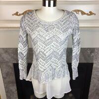 LUCKY BRAND Womens M Ivory Silver Metallic Chevron Layered Knit Sweater