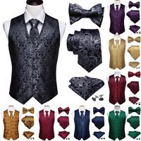 Mens Dress Vest Tuxedo Waistcoat Tie Bow tie Set Black Red Gold Paisley Silk USA