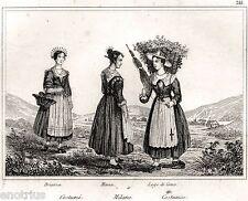 Milano: Costumi di Monza,Brianza e Lago di Como.Audot.Acciaio.Stampa Antica.1840