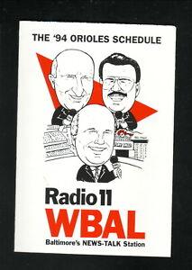Baltimore Orioles--1994 Pocket Schedule--WBAL/Bank of Baltimore