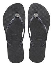 abc0bfa7c96fa Havaianas Women`s Flip Flops Slim Crystal Poem Black with Dark Grey Straps  NWT
