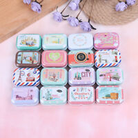 Mini tin trinket jewelry coin box tinplate storage case rectangular randomWTU BR