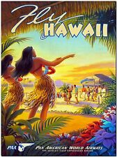 Vintage Travel poster Hawaii Dancers Canvas Print 24X16""