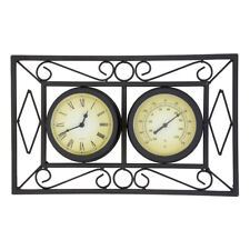 More details for black ornate garden outdoor metal wall mounted frame clock & thermometer