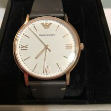 Emporio Armani Men's Rose Gold Brown Leather 43mm Watch AR11011 NEW! USA SELLER!