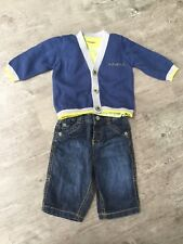 Bebé Chicos M&S hasta 3/0-3 meses Jeans T-Shirt Cardigan Set Marks and Spencer