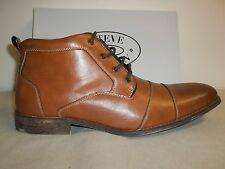 Steve Madden Size 13 M JAYY Cognac Brown Leather Cap Toe Boots New Mens Shoes