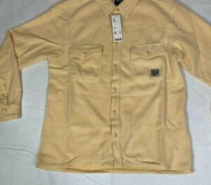 BDG Yellow Mens Urban Outfitters Long Sleeve Overdye Soft Button Up Shirt Sz M
