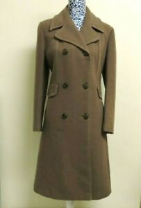 Vintage 1970s Snugkoat Women's Pure New Wool Double Breasted Dress Coat UK 14