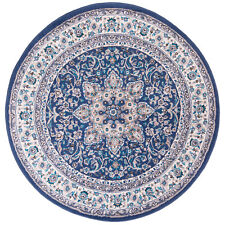 Round Traditional Oriental Blue Bordered Area Rug **FREE SHIPPING**
