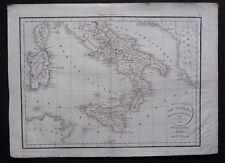 § carte Royaume de Naples Sicile et Sardaigne - Félix Delamarche 1829