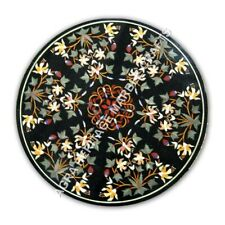 """32"""" Collectible Marble Black Dining Kitchen Table Top Inlay Hallway Decor E1070"""