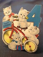 #1000A🌟Vintage Children's '51 KITTENS Tricycle 4th Birthday Norcross Card FLOCK