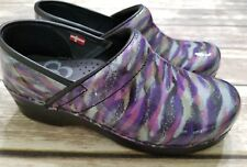SANITA PATENT LEATHER CLOGS PURPLE GREEN BLUE MARBLE WOMENS SHOES SIZE 36 5.5 6