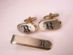 -R Monogram Initial Letter Font Vintage HICKOK USA Cuff Links & Tie Bar Clip set