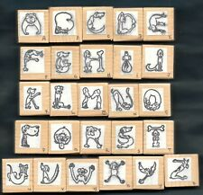 DOGS PUPPIES ALPHABET LETTERS Pet Love UNBRANDED 26 pc Wood Rubber Stamp Set
