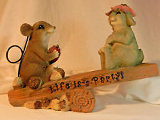 Playful Bunny Rabbit and Mouse Yard Garden Ornament Figurine Statue Home Decor