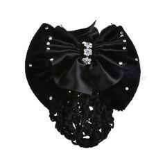 Beautiful Lady Bow Rhinestone Barrette Hair Clip Cover Bowknot Net Bun Snood