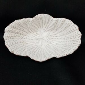 Mud Pie White Glazed Terracotta Dish Bowl Candy Nut Trinket Starfish Shells Mint