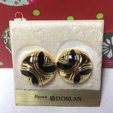 D'ORLAN VINTAGE GOLD BLACK ROUND CLIP EARRINGS
