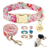 Floral Personalized Dog Collar and Leash Custom Pet Dog Cat ID Tag Engraved S-L