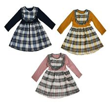 New Girls Kids Tartan Check Long Sleeved Buttons casual Party Holiday Dresses
