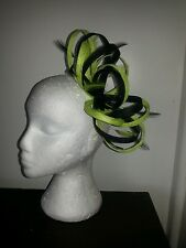 Black and citrus lime green fascinator for wedding/races special occasion