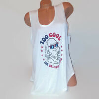 """Joe Boxer Womens Tank Top White """"Too Cool for British Rule"""" Sleeveless Graphic"""