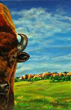 American bison Buffalo wildlife EBSQ Kim Loberg Original Nature mini Art prairie