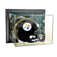 New Wall Mounted F/S Football Helmet Display Case GLASS Black Molding UV
