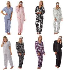 Ladies Satin Silky Pyjamas Black Pink Purple White Floral Plain Lounge Buttoned