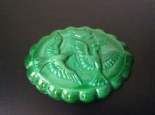 Boîte à poudre bonbonnière verre moulé coloré vert malachite Heinrich Hoffmann