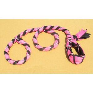 Handmade Dog Leash Fleece and Paracord Slip-Lead Pink / Black w Pink Camouflage