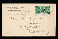 GB KG5 1935 SILVER JUBILEE PRINTED MATTER 1/2d...FARREN + BARROW FISH MERCHANTS