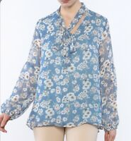 Umgee Blouse Tunic L Tie Neck Blue Yellow Floral Print Peasant Sleeve Casual