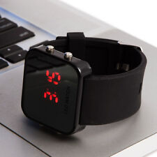 Fashion Mirror Face Design New Red LED Digital Watch Men Boy Kid Wristband Case