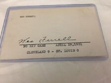 WES FERRELL Autograph Hand Signed 3x5 Index Card Of 1931 No Hit Game UNIQUE!