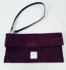Dooney & Bourke Suede Leather Foldover Clutch Purse, Dark Burgundy Small Handbag