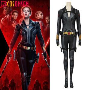 2020 Black Widow Costume Natasha Romanoff Cosplay Print Jumpsuit Black Outfits