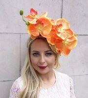 Gold Orange Orchid Flower Fascinator Pillbox Hat Races Wedding Sequin Hair 3677